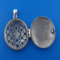 Large Celtic Knot Antiqued Oval Aromatherapy Locket Pendant in Sterling Silver - Silver Insanity