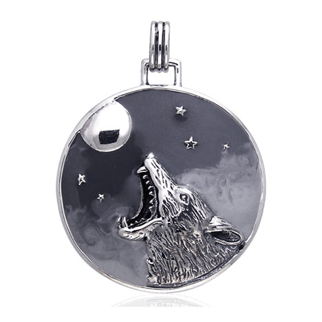 Howling Coyote at the Moon Totem Animal Speak Sterling Silver Slide Art Pendant