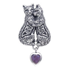 Cuddling Kittens Cat Celtic Knot Sterling Silver Pendant Slide Amethyst Heart - Silver Insanity
