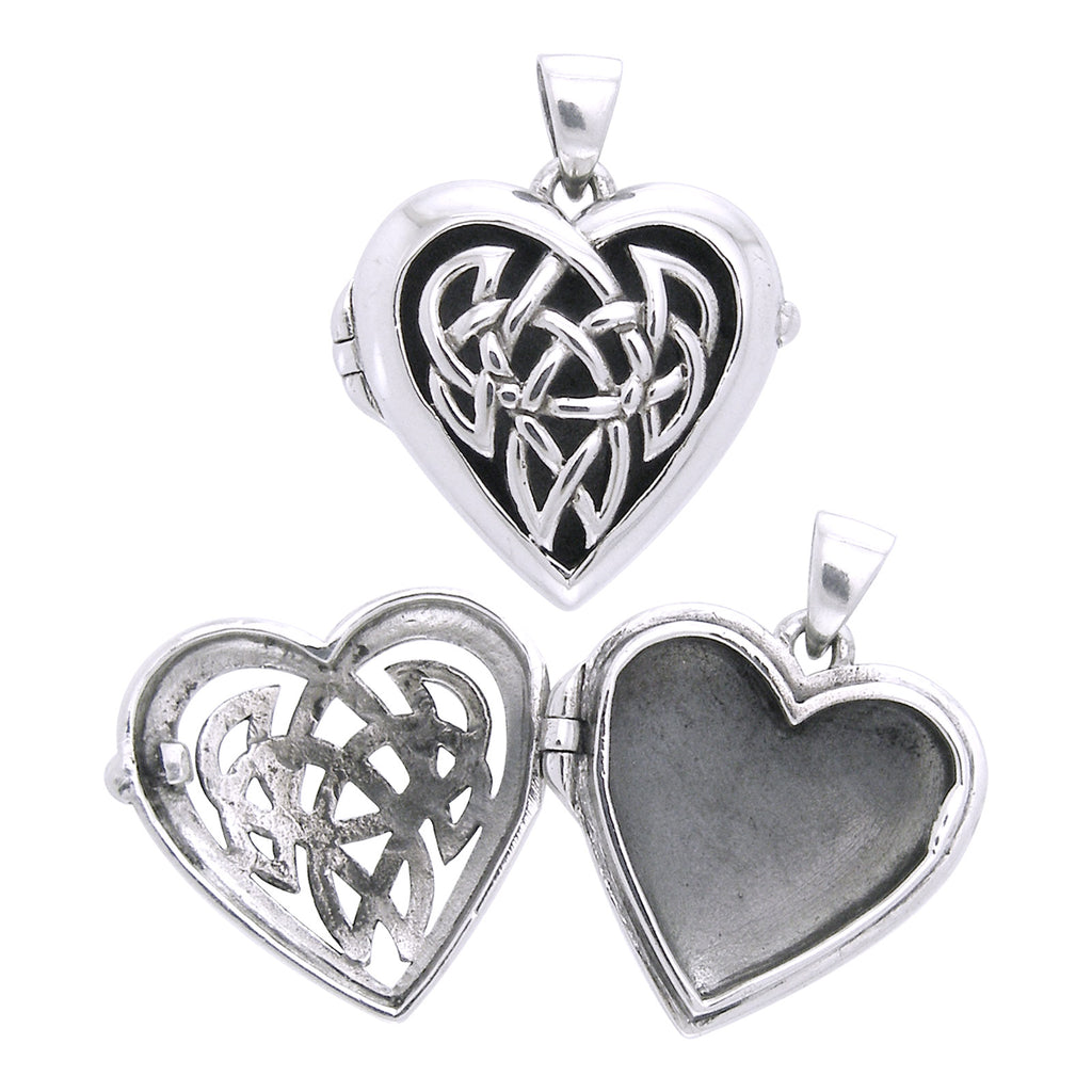 Large Celtic Knot Heart Aromatherapy Locket Sterling Silver Pendant
