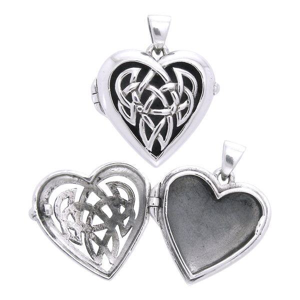 Large Celtic Knot Heart Aromatherapy Locket Sterling Silver Pendant - Silver Insanity