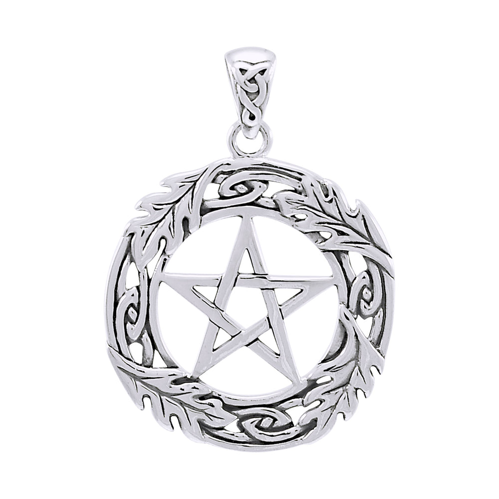 Oak Leaf Framed Celtic Knot Pentacle Pentagram Sterling Silver Pendant - Silver Insanity