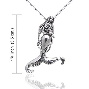 Seer's Child - Mother Mermaid and Baby Sterling Silver Pendant - Silver Insanity