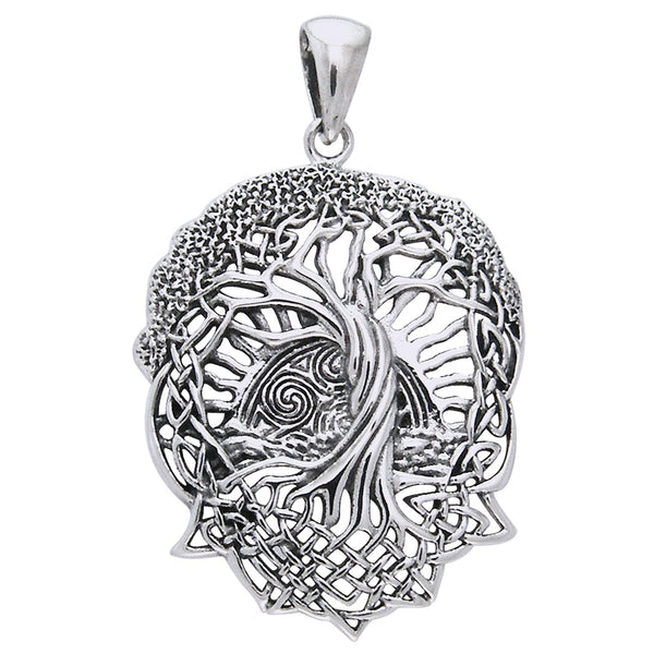 Rising Sun - Interconnect Celtic Knot Tree of Life Sterling Silver Pendant - Silver Insanity