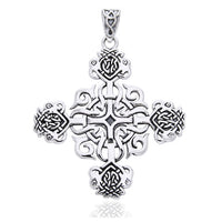 Cross of Celtia Large Sterling Silver Celtic Knot Pendant - Silver Insanity