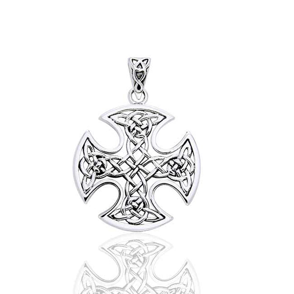 Still Center Celtic Knot Cross Sterling Silver Pendant by Courtney Davis - Silver Insanity