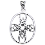 Tribal Cross Symbol Celtic Knotwork Sterling Silver Pendant by Courtney Davis - Silver Insanity