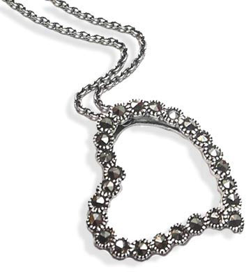 "Sterling Silver Open Marcasite Heart Pendant 18"" Necklace"