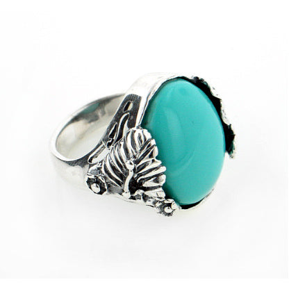 Heavy Simulated Turquoise Oval Cabochon Sterling Silver Leaves Ring