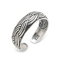 Braided Rope Twist Antiqued Sterling Silver Toe Ring - Silver Insanity