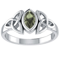 Sterling Silver Celtic Knot and Genuine Green Moldavite Ring - Silver Insanity