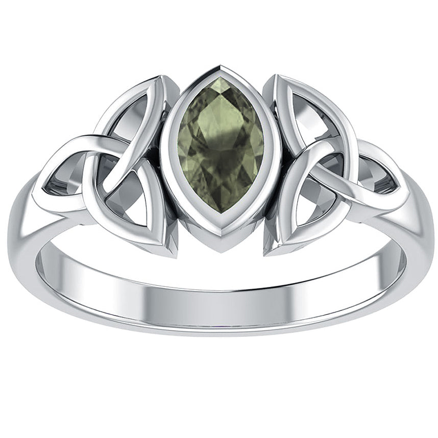 Sterling Silver Celtic Knot and Genuine Green Moldavite Ring