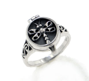 Sterling Silver Dragonfly Poison or Aromatherapy Scent Locket Ring