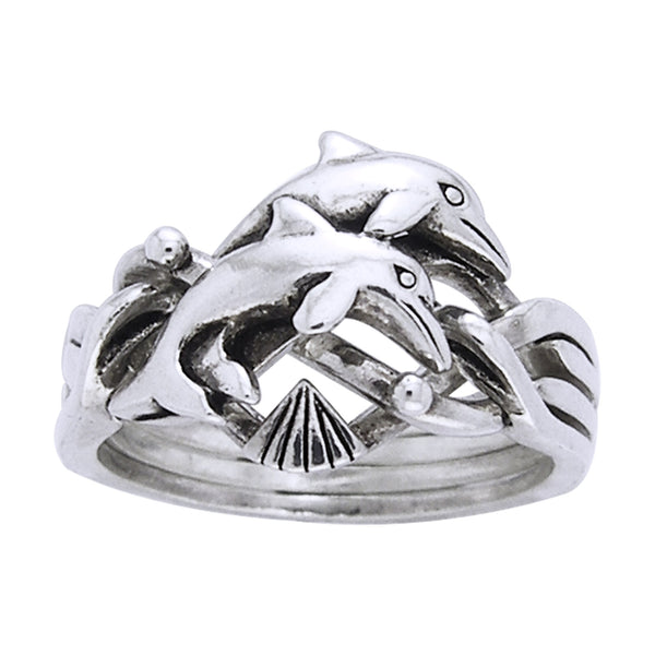 Dolphin Puzzle Ring Sterling Silver Four Band - Silver Insanity