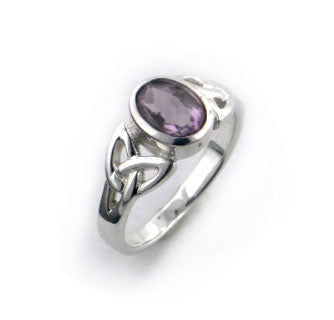 Sterling Silver Celtic Knot and Purple Genuine Amethyst Ring