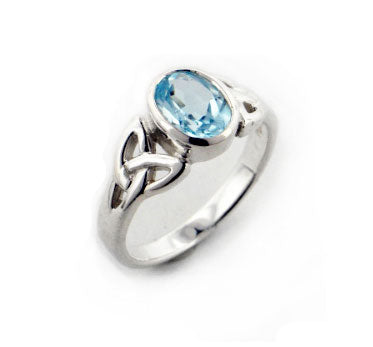 Sterling Silver Celtic Knot and Genuine Blue Topaz Ring
