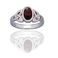 Sterling Silver Celtic Knot and Genuine Red Garnet Ring - Silver Insanity