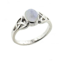 Sterling Silver Celtic Knot and Genuine Rainbow Moonstone Ring - Silver Insanity