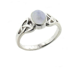Sterling Silver Celtic Knot and Genuine Rainbow Moonstone Ring