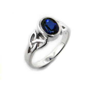 Sterling Silver Celtic Knot and Created Blue Sapphire Ring