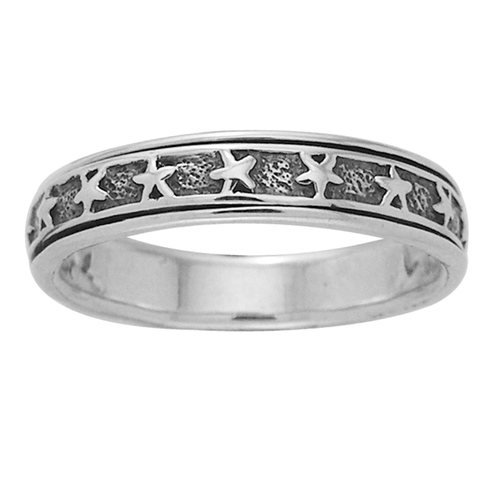 Sterling Silver Star Spin Motion Band Ring - Silver Insanity