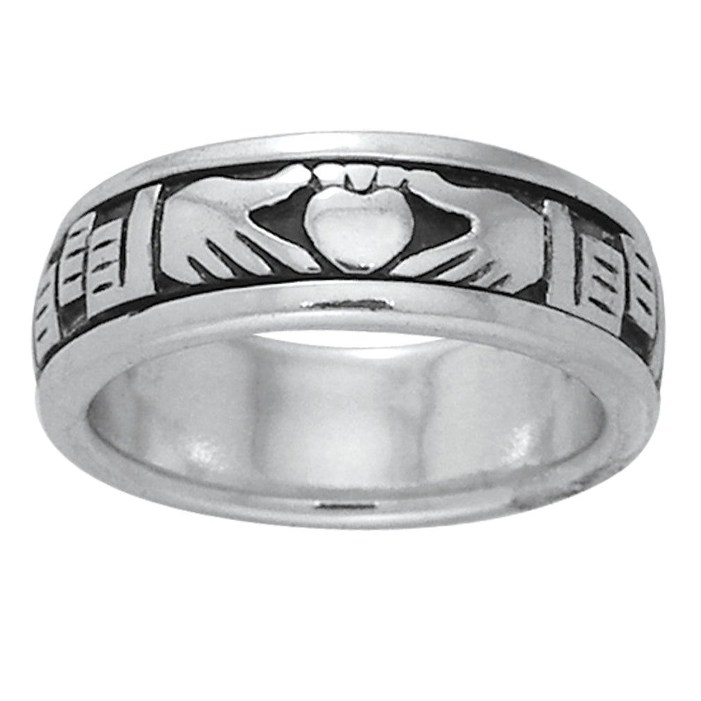 Sterling Silver Celtic Claddagh Irish Wedding Band Spin Ring