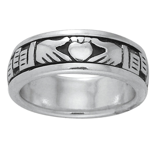 Sterling Silver Celtic Claddagh Irish Wedding Band Spin Ring - Silver Insanity