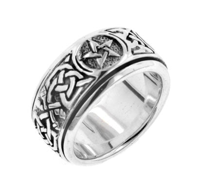 Sterling Silver Celtic Knot Pentacle Spinning Fidget Ring