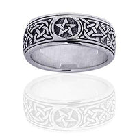 Sterling Silver Celtic Knot Pentacle Spinning Fidget Ring - Silver Insanity