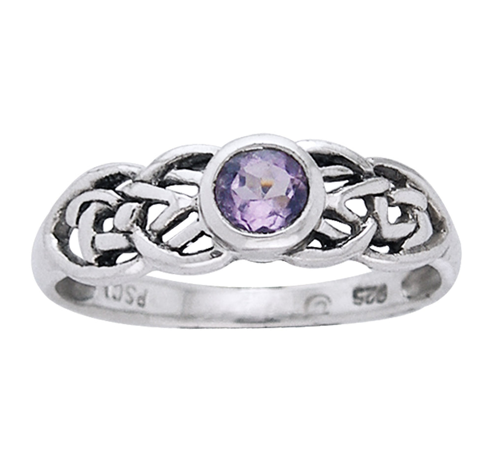 Petite Celtic Knot Birthstone Ring Sterling Silver Genuine Amethyst For February - Silver Insanity