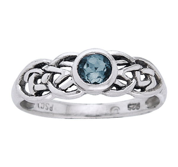Petite Celtic Knot Birthstone Ring Sterling Silver Genuine Aquamarine For March - Silver Insanity