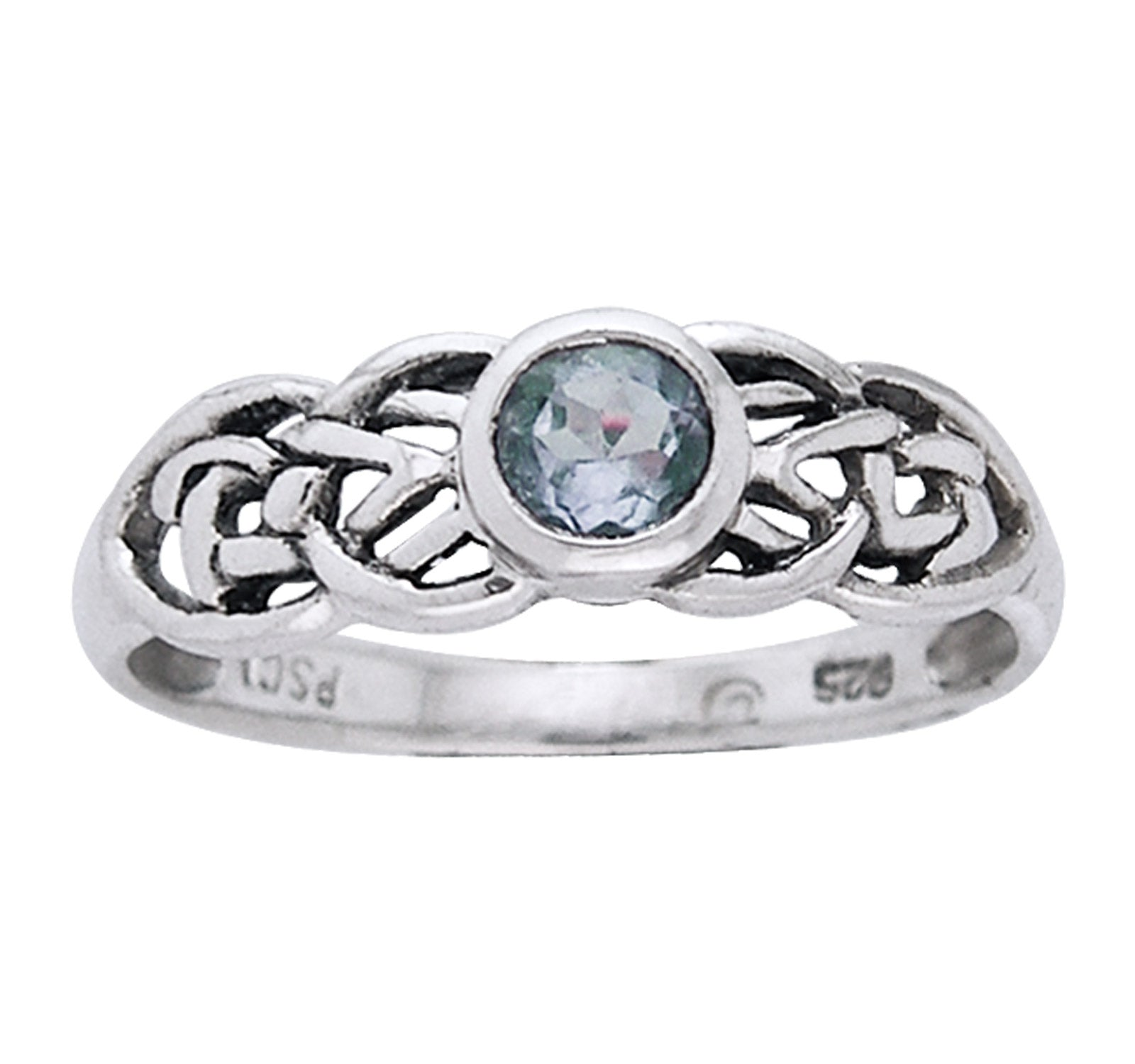 Petite Celtic Knot Birthstone Ring Sterling Silver Genuine Blue Topaz For December - Silver Insanity