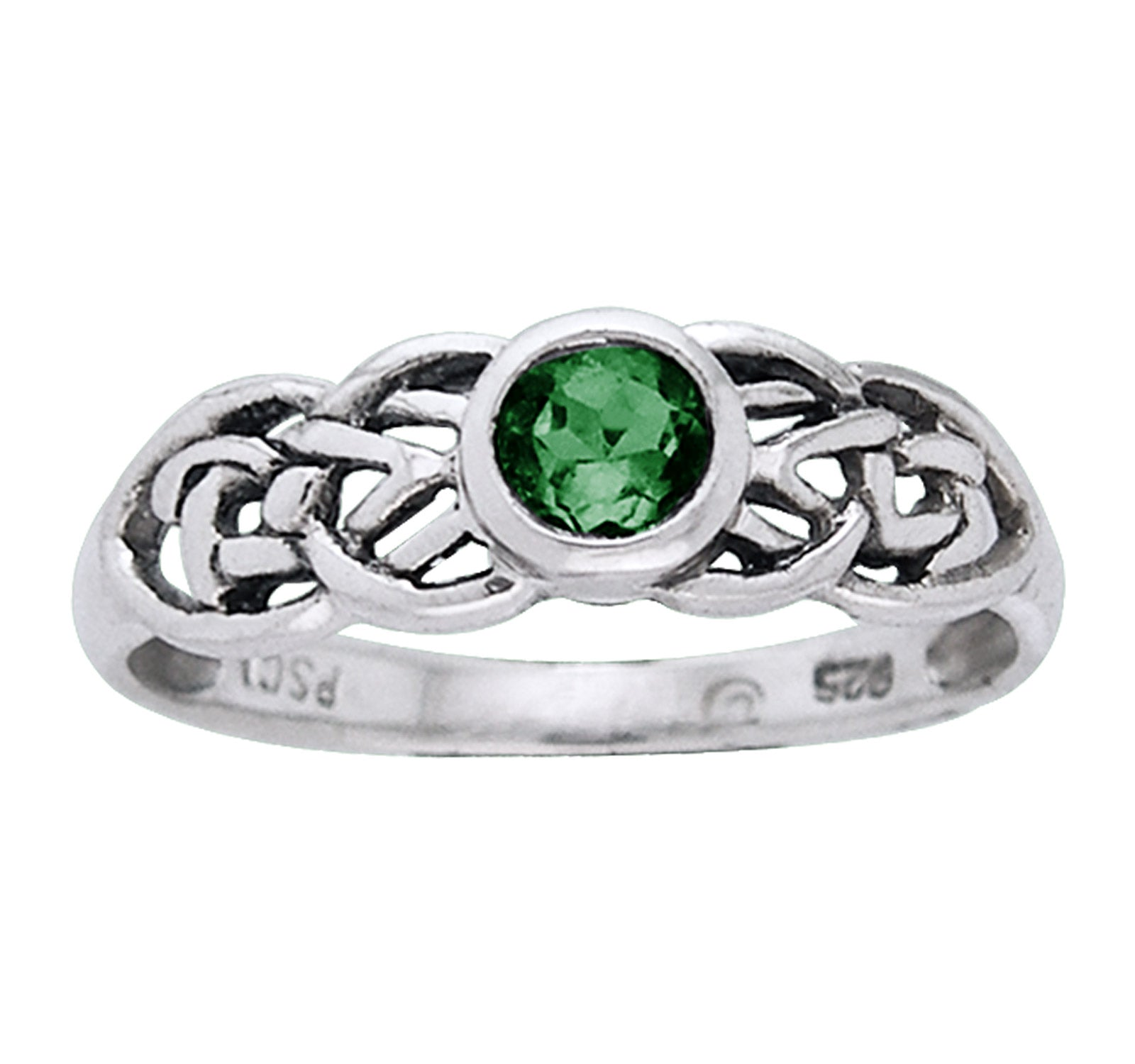 Petite Celtic Knot Birthstone Ring Sterling Silver Green Glass For May - Silver Insanity