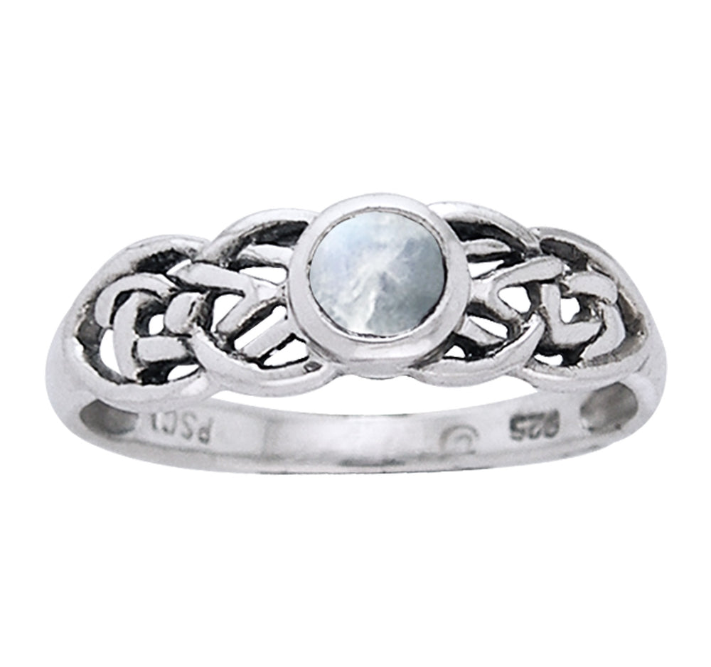 Petite Celtic Knot Birthstone Ring Sterling Silver Genuine Rainbow Moonstone For June - Silver Insanity