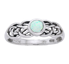 Petite Celtic Knot Birthstone Ring Sterling Silver Simulated Opal For October - Silver Insanity
