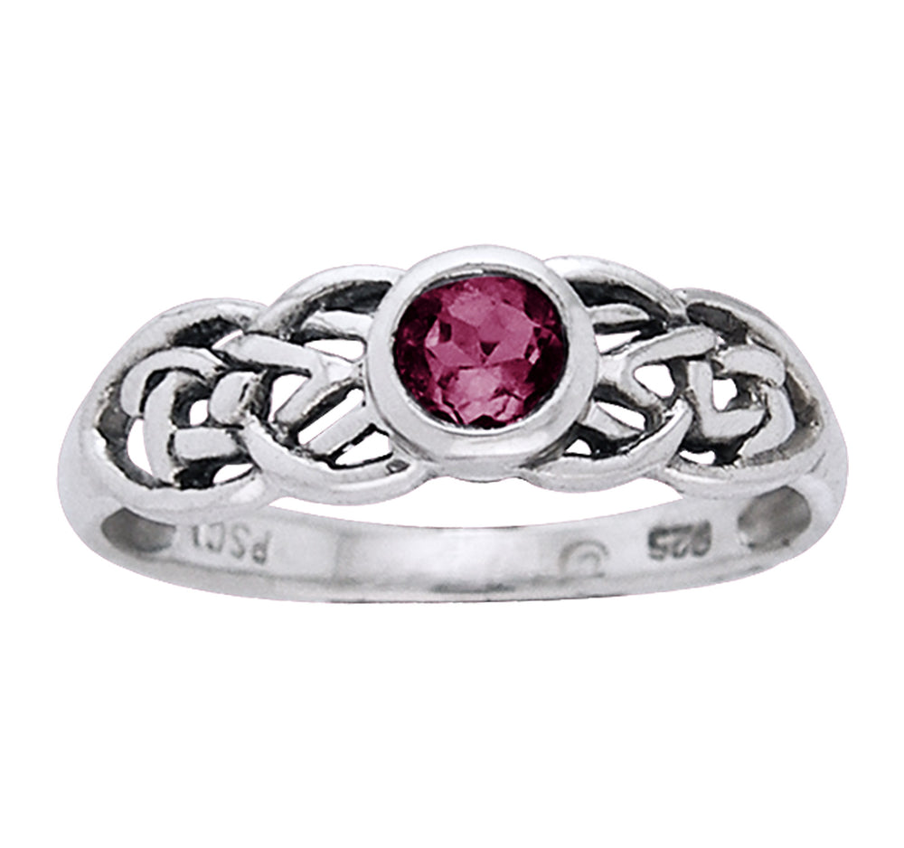 Petite Celtic Knot Birthstone Ring Sterling Silver Synthetic Ruby For July - Silver Insanity