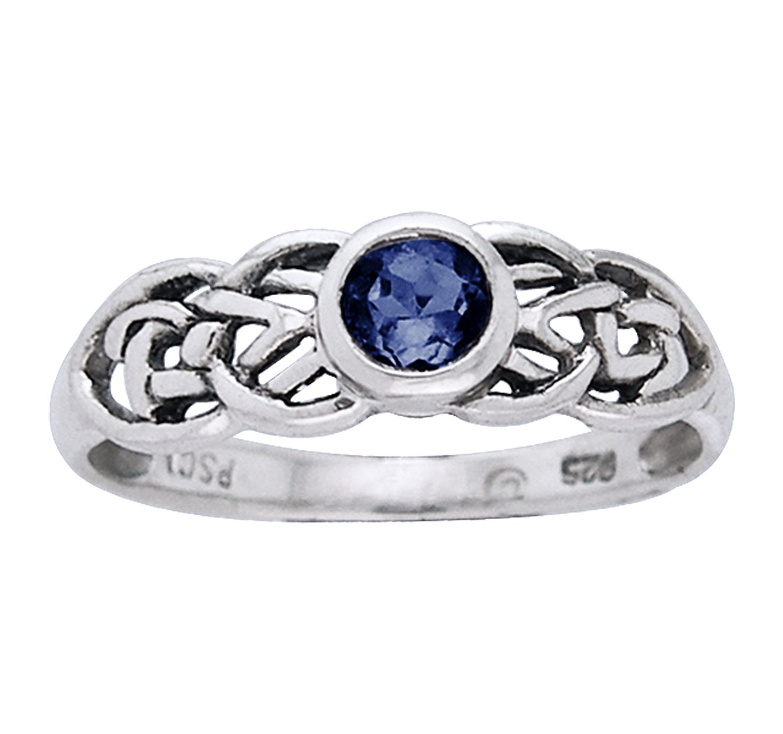 Petite Celtic Knot Birthstone Ring Sterling Silver Synthetic Sapphire For September - Silver Insanity