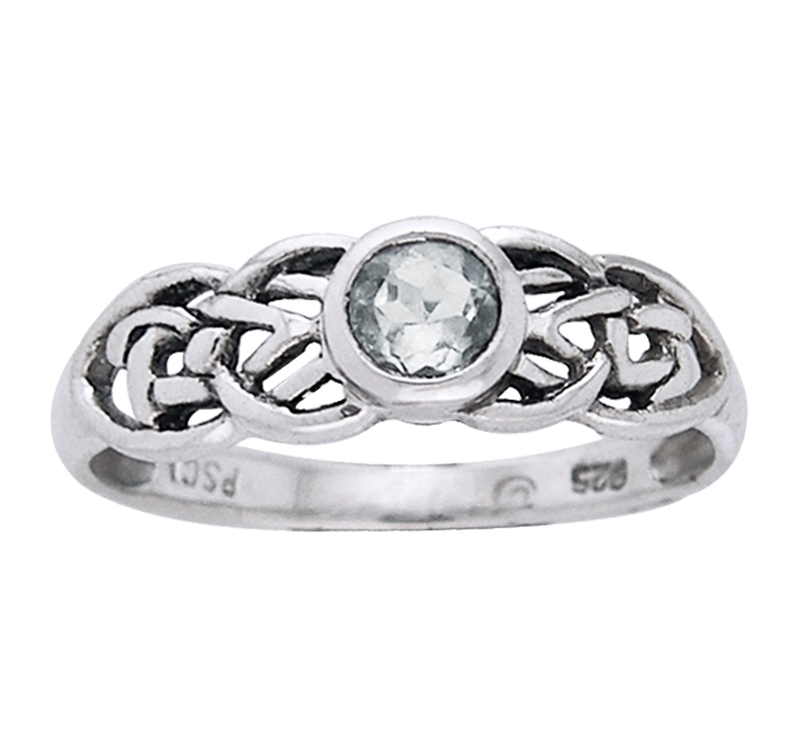 Petite Celtic Knot Birthstone Ring Sterling Silver Genuine White Topaz For April - Silver Insanity