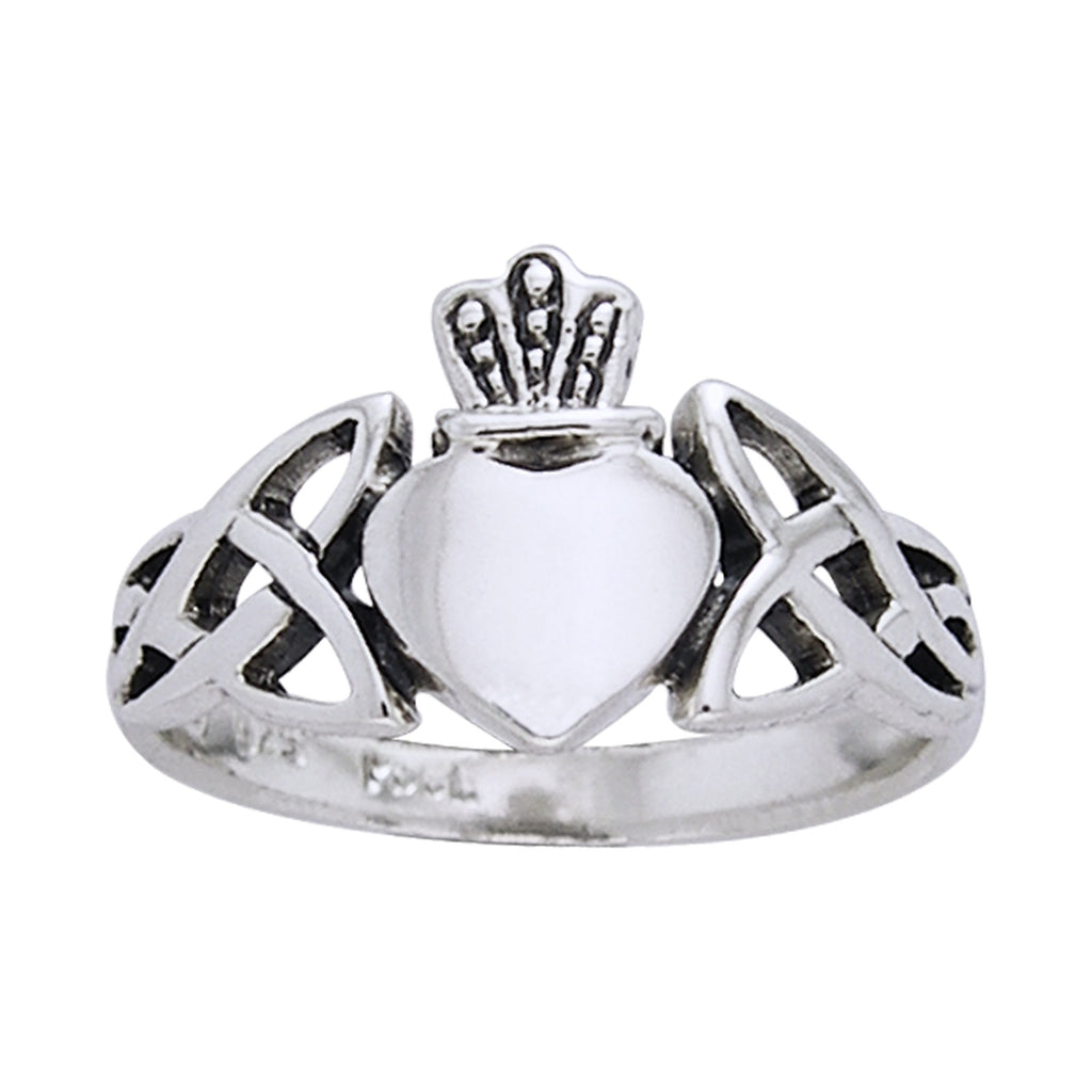 Classic Irish Claddagh Celtic Knotwork Sterling Silver Ring