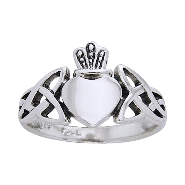 Classic Irish Claddagh Celtic Knotwork Sterling Silver Ring - Silver Insanity