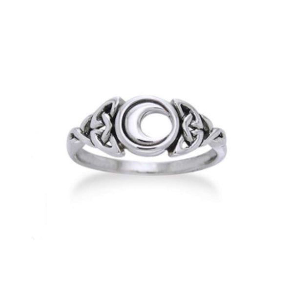 Sterling Silver Celtic Trinity Knot and Crescent Moon Ring - Silver Insanity