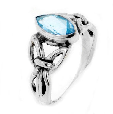 Sterling Silver Celtic Knot Blue Topaz Ring
