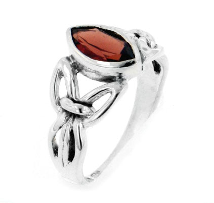 Sterling Silver Celtic Knot Large Garnet Ring