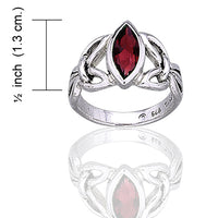 Sterling Silver Celtic Knot Large Garnet Ring - Silver Insanity