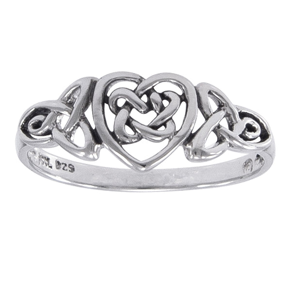 Sterling Silver Celtic Trinity Knot Heart Ring - Silver Insanity