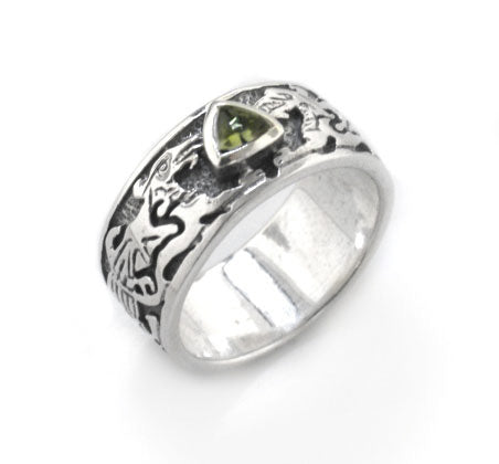 Genuine Green Moldavite Meteor Celtic Knot Dragon Sterling Silver Ring - Silver Insanity