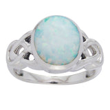 Large Created White Opal and Sterling Silver Celtic Knot Ring