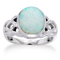 Large Created White Opal and Sterling Silver Celtic Knot Ring - Silver Insanity