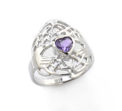 Celtic Knot and Genuine Amethyst Irish Claddagh Sterling Silver Ring - Silver Insanity