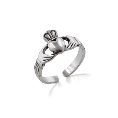 Sterling Silver Celtic Claddagh Toe Ring for Love, Loyalty, and Friendship